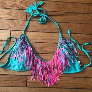 Fringe bathing suit top